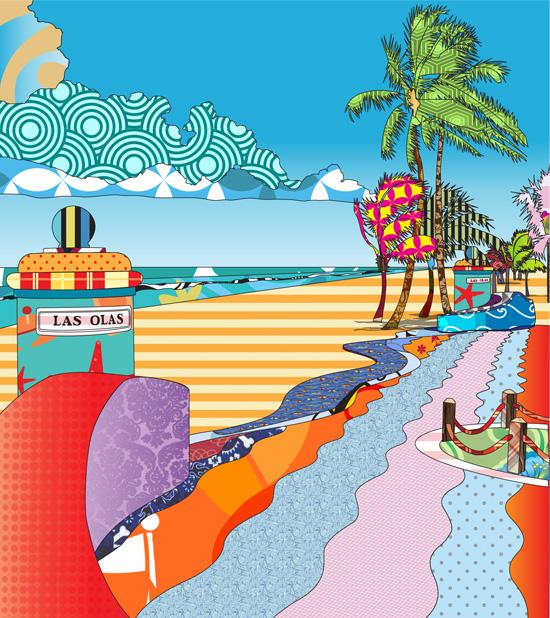 Las Olas Colorful Textile Design
